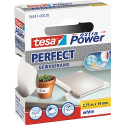 Tesa extra Power Gewebeband Perfect 2 75 x 19 mm weiß