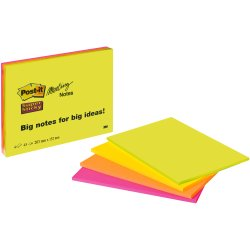 Post it Meeting Notes Super Sticky neon 200x149mm 180 Bl